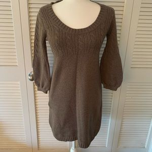 Brown Mid-Sleeve Sweater Dress